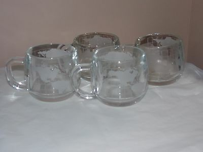 Vintage Nestle Earth Globe World Etched Clear Glass 4 Mugs