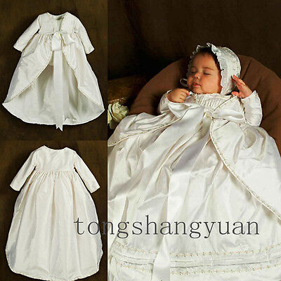 Baby Two Piece Infant Baptism Gowns Flower Long Sleeve Christening Dress +Bonnet