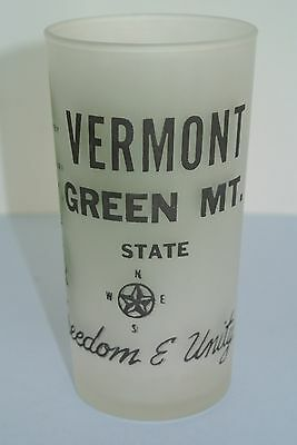 "Vtg. Vermont Green Mountain State Map Souvenir 5"" Frosted Drinking Glass ~ MINT"