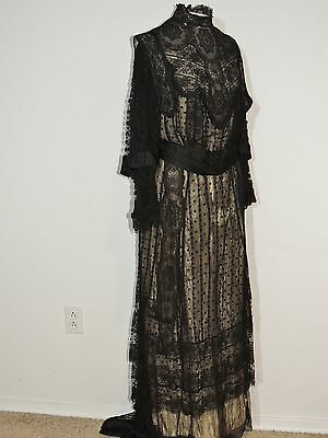 Edwardian Black Chantilly Lace Titanic Era Gown / Dress MED