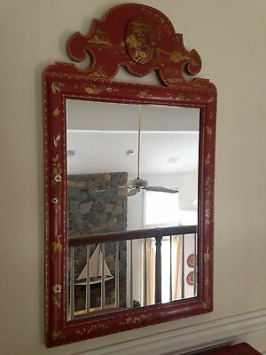 Baker Chinoiserie Decorated Red Mirror Stunning