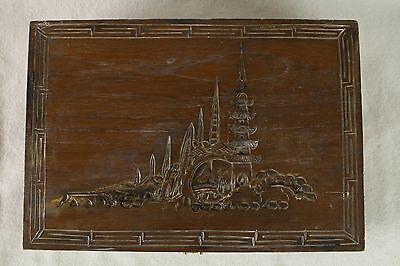 Large Vintage Asian Carved Wood Jewelry Box