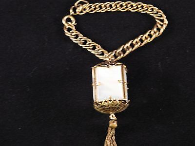 Extremely Rare! Vintage Gold Tone Bracelet with Mother of Pearl Lantern Charm