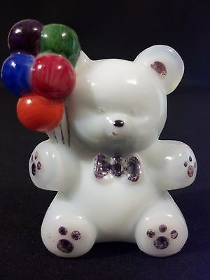 Super Rare! Hand Painted Vintage Boyd Glass Milk White Patrick Bear Figurine