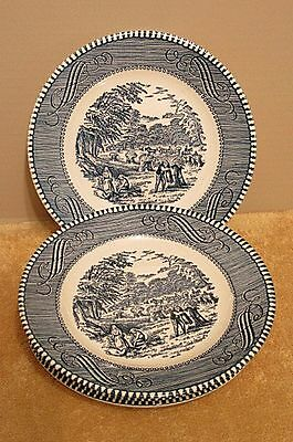 """Vintage Royal Blue Currier And Ives Set Of 10 """"Harvest"""" Bread And Butter Plates"""