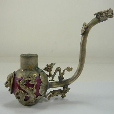 Collectible Decorated Old Handwork Red Jade & Tibet Silver Dragon Smoking Pipe