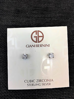 Sterling Silver and Cubic Zirconia Stud Earring Giani Bernini  Retail $30