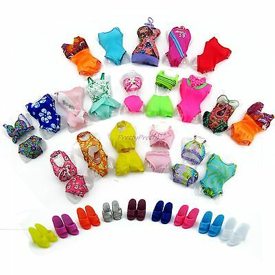 Lot 10x= 5 Random Swimsuit Beach Swimming Clothes 5 Slippers For Barbie Doll #BU