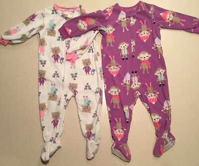 Just One You by Carter's fleece footed pjs 2 piece set purple bears VGUC 18M