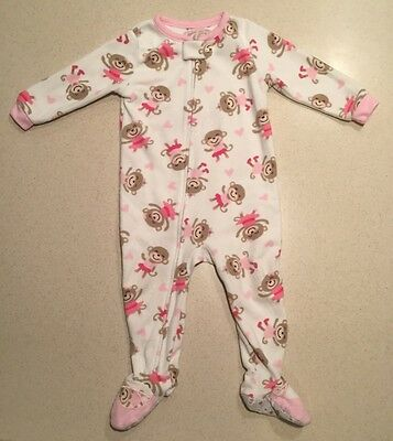 Carter's white pink hearts Valentine's Day fleece footed pjs one piece VGUC 18M