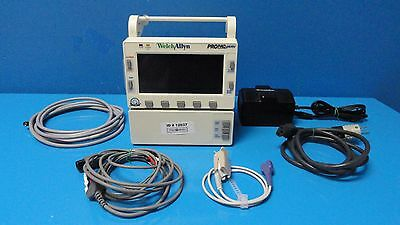 Welch Allyn 202EL ProPaq Encore (SpO2 NBP Temp EKG Print) Monitor W/ Leads~12037