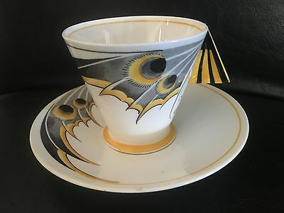 Rare 1930 Shelley 11758 deco yellow Butterfly Wing Mode shape cup saucer