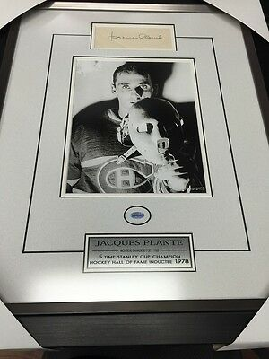 JACQUES PLANTE Montreal Canadiens Signed Framed Index Card & Photo Authenticated