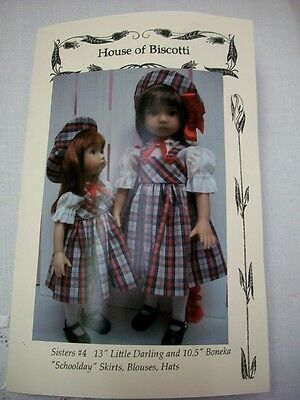 """Sisters #4 Effner Little Darling and 10.5"""" Boneka Pattern Skirts, Blouses, Hats"""