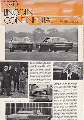 1970 Lincoln Continental, Detailed USA Car Magazine Road Test Report