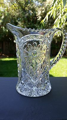"Vintage Imperial Pressed Glass Ohio Mayflower Pitcher 9"" Tall 48 oz."
