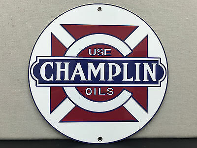 Champlin oil  racing vintage gasoline advertising sign round