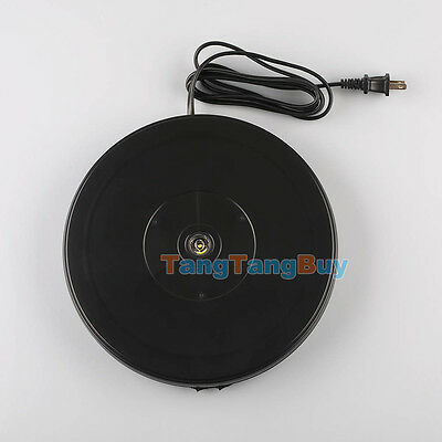 Black 25cm 10KG 3D Heavy Duty Rotary Rotating Display Stand Turntable US Plug