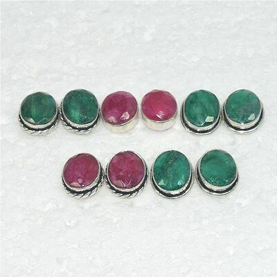 925 Solid Sterling Silver Wholesale 5Pair Natural Faceted Ruby Stud Earring Lot