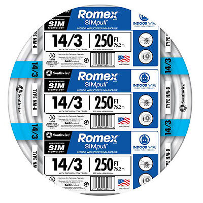 Romex 14-3 AWG NM-B Cable Copper Wire  -  250 ft  (By-the-Roll)