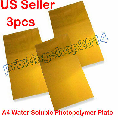 3pcs A4 Hot Foil Stamp Water Soluble Photopolymer Plate
