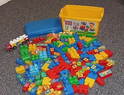 Mega Bloks large box of toy construction blocks with letters 120 + pieces