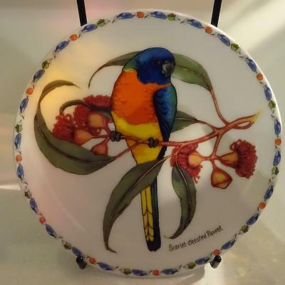 Australian Fine China Feathered Jewels II Plate - Scarlet Crested Parrot