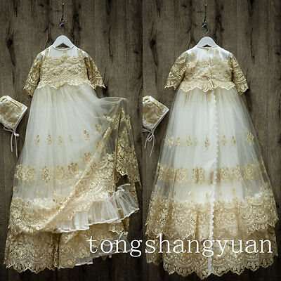 Luxury Champagne Infant Baptism Gowns Beading Lace Applique Christening Dresses