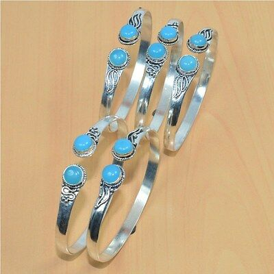925 Silver Plated Wholesale 5Pc Blue Chalcedony Cuff Adjustable Bangle Lot