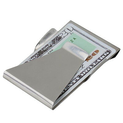 Slim Money Clip Double Sided Cash Credit Card Holder Wallet Stainless Steel RT