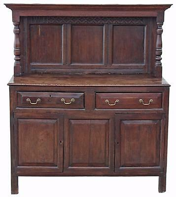 Antique small Gothic Georgian 18C oak court cupboard sideboard
