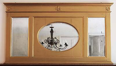 Antique large Victorian 19th Century wall mirror overmantle