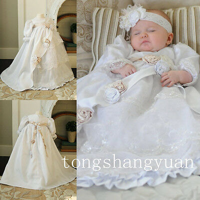 Long Sleeve For Girls Lace Baptism Gown Flowers Christening Dresses Infant 0-24M