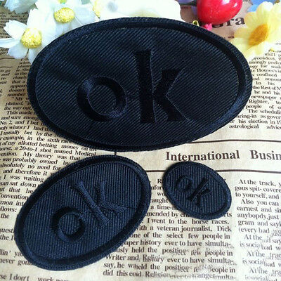 Embroidered Sew Iron on Patch Badge Black Letter OK Motif Bag Applique Fabric