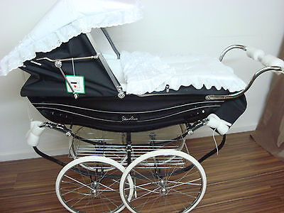 Sun Canopy & Cover Set Fits Silvercross Balmoral Coach Built Pram White New
