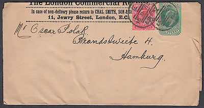 1903KEVII uprated The London Commercial Record Newspaper Wrapper:Hamburg,Germany