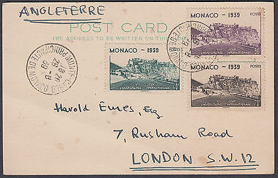 1939 Monaco International University Games 3 values on Postcard to London, UK