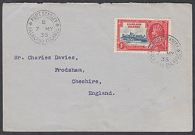 1935 Falkland Islands KGV Silver Jubilee 1d FDC; Port Stanley: Frodsham,Cheshire