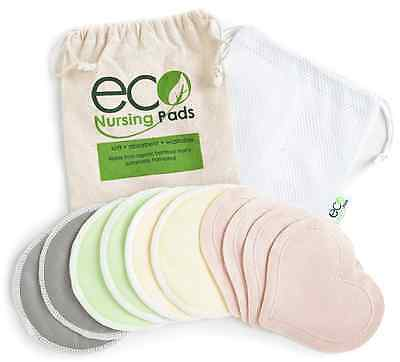 Washable Organic Nursing Pads (10 Pack) | Ultra Soft Reusable Bamboo Breastfeedi