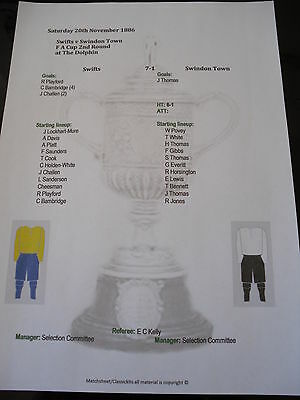 1886-87 FA Cup 2nd Round Swifts v Swindon Town matchsheet