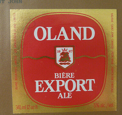 Vintage Canadian Beer Label - Oland Brewery, Export Ale 341 Ml #2