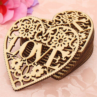 10× Wooden Shape Love Heart Wedding Hanging Decorative Craft Embellishment New