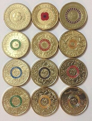 12x Commemorative And Coloured Two Dollar ($2) Coins 2012 - 2016.