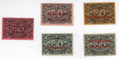 Guatemala 1897 * 5 timbres * exposition centr-americaine * surcharge telegrafos