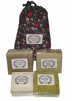 CARIA Vegan Four Olive Oil Soap Bar set All natural handmade from Turkey 420g