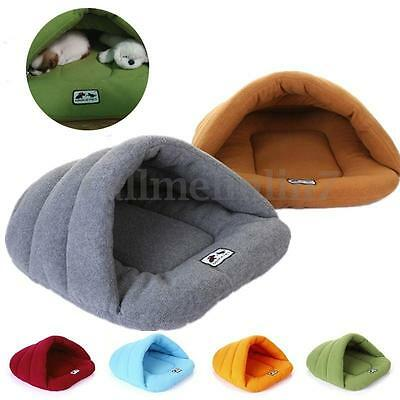 UK Pets Cats Dogs Puppy Nest Bed Soft Warm Cave House Sleeping Bag Mat Pad S M L