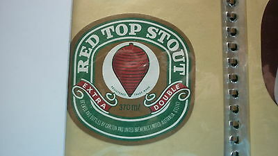 OLD AUSTRALIAN BEER LABEL, CUB BREWERY, RED TOP STOUT 370ml