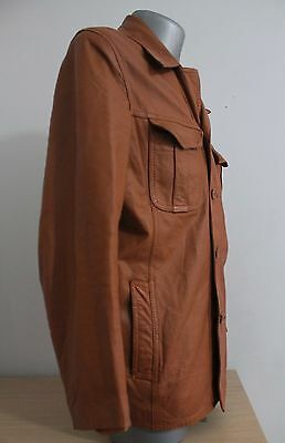 VTG 70´S Mens Jacket BUTLER Finland Brown Leather Jacket Safari Cafe Racer 52