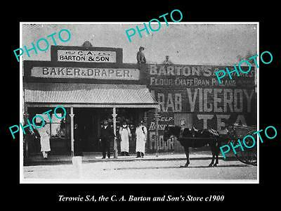 OLD LARGE HISTORIC PHOTO OF TEROWIE SOUTH AUSTRALIA, THE GENERAL STORE c1900