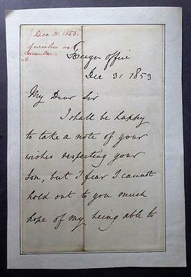 George Villiers, Lord Clarendon, Foreign Office, Crimea, ALS, SIGNED, 1853